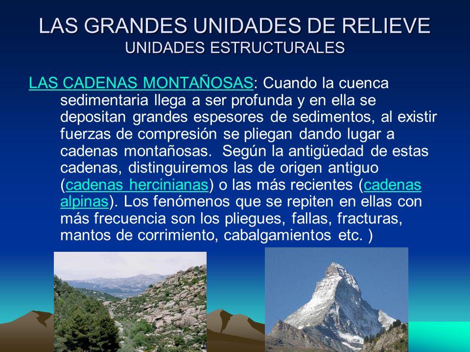 LAS GRANDES UNIDADES DE RELIEVE UNIDADES ESTRUCTURALES LAS CADENAS MONTAÑOSASLAS CADENAS MONTAÑOSAS: Cuando la cuenca sedimentaria llega a ser profund