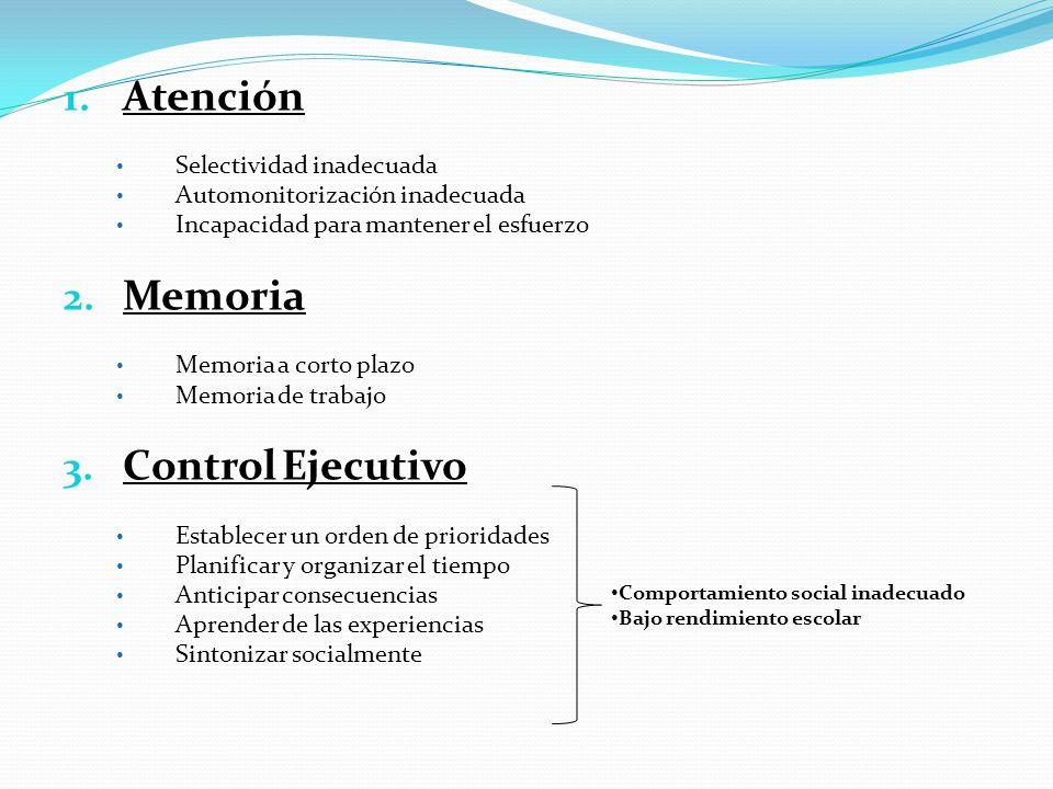 1. Atención Selectividad inadecuada Automonitorización inadecuada Incapacidad para mantener el esfuerzo 2. Memoria Memoria a corto plazo Memoria de tr