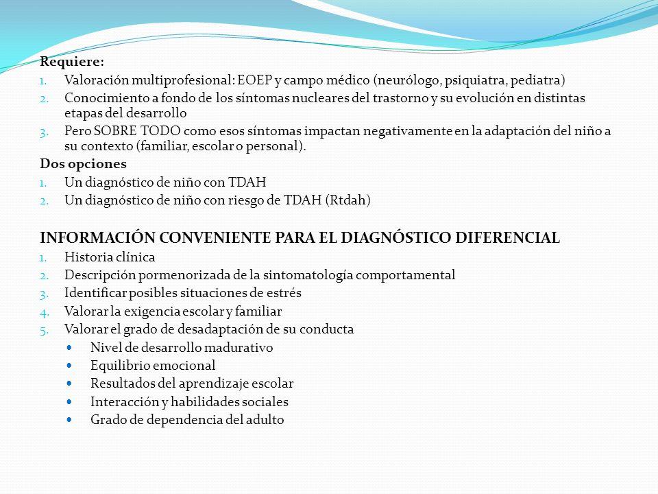 Requiere: 1. Valoración multiprofesional: EOEP y campo médico (neurólogo, psiquiatra, pediatra) 2. Conocimiento a fondo de los síntomas nucleares del