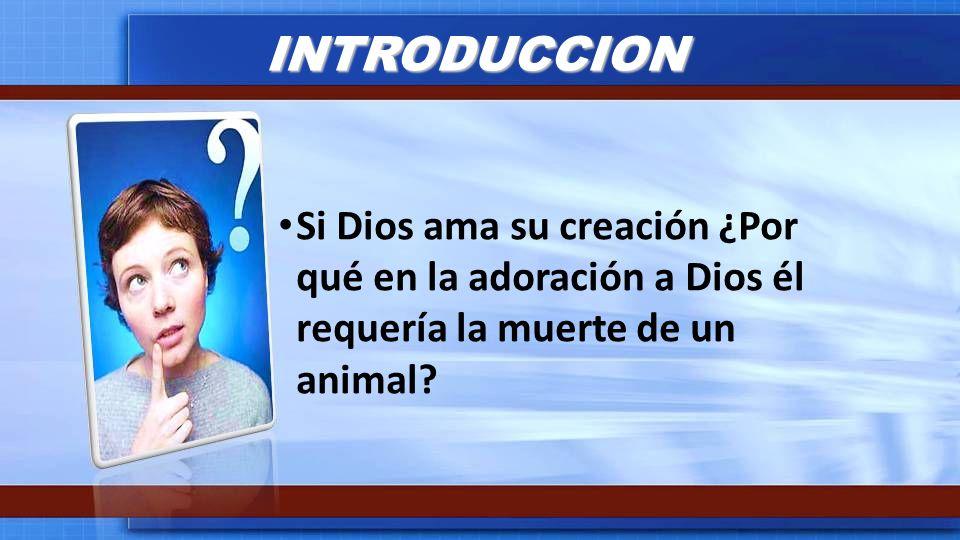 INTRODUCCION Si Dios ama su creación ¿Por qué en la adoración a Dios él requería la muerte de un animal?