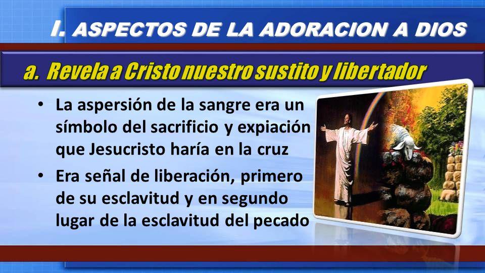 La aspersión de la sangre era un símbolo del sacrificio y expiación que Jesucristo haría en la cruz Era señal de liberación, primero de su esclavitud
