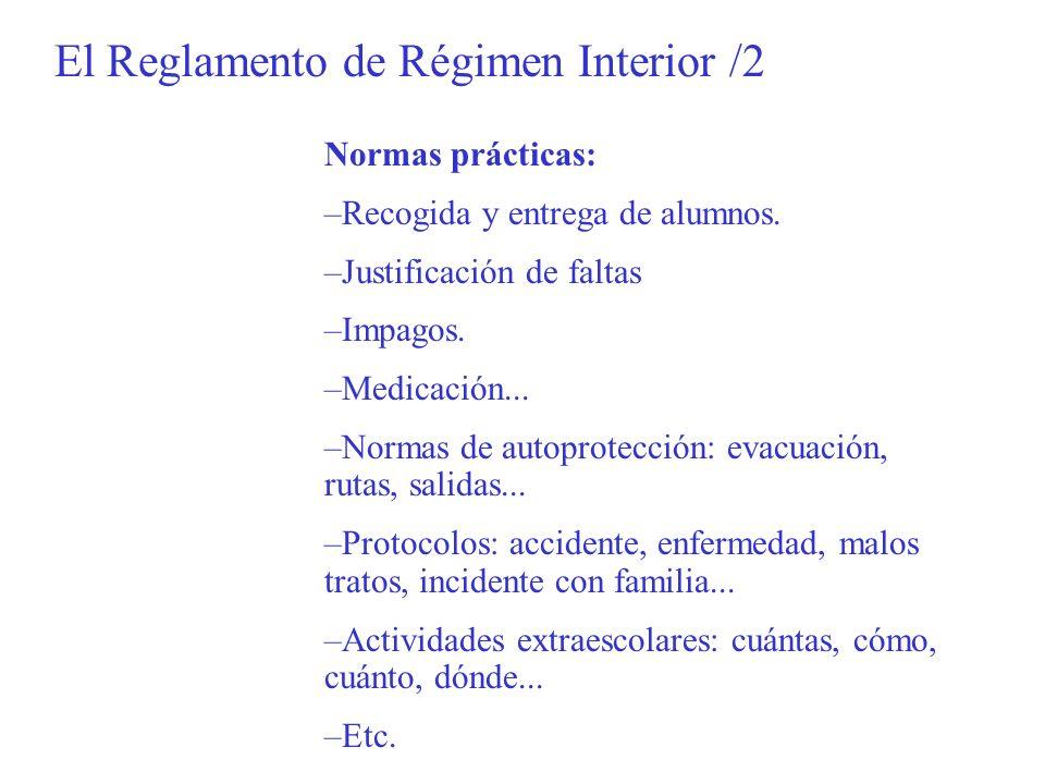 El Reglamento de Régimen Interior /2 Normas prácticas: –Recogida y entrega de alumnos. –Justificación de faltas –Impagos. –Medicación... –Normas de au