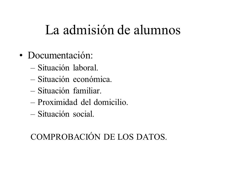 La admisión de alumnos Documentación: –Situación laboral. –Situación económica. –Situación familiar. –Proximidad del domicilio. –Situación social. COM