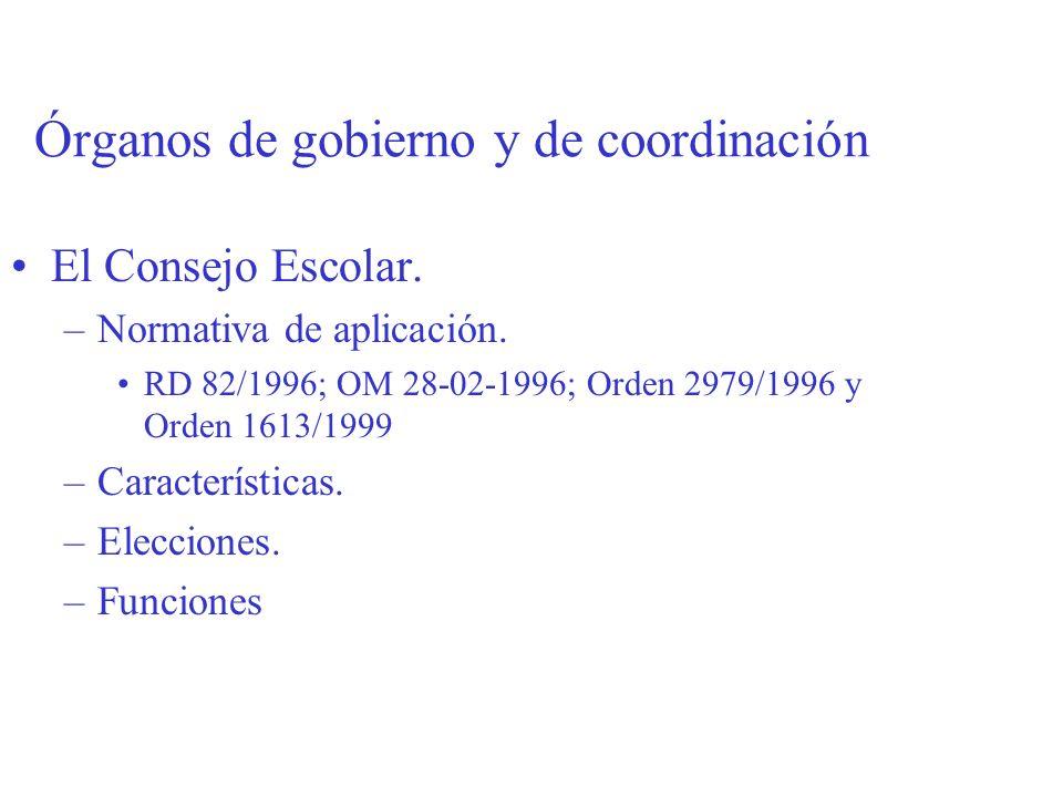 Órganos de gobierno y de coordinación El Consejo Escolar. –Normativa de aplicación. RD 82/1996; OM 28-02-1996; Orden 2979/1996 y Orden 1613/1999 –Cara