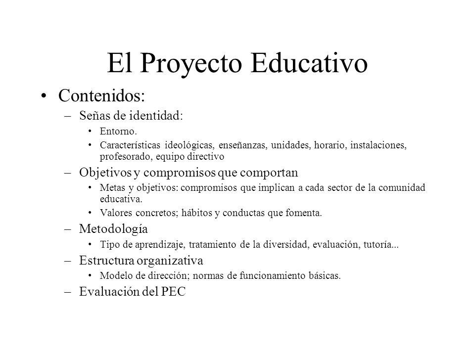 El Proyecto Educativo Contenidos: –Señas de identidad: Entorno. Características ideológicas, enseñanzas, unidades, horario, instalaciones, profesorado