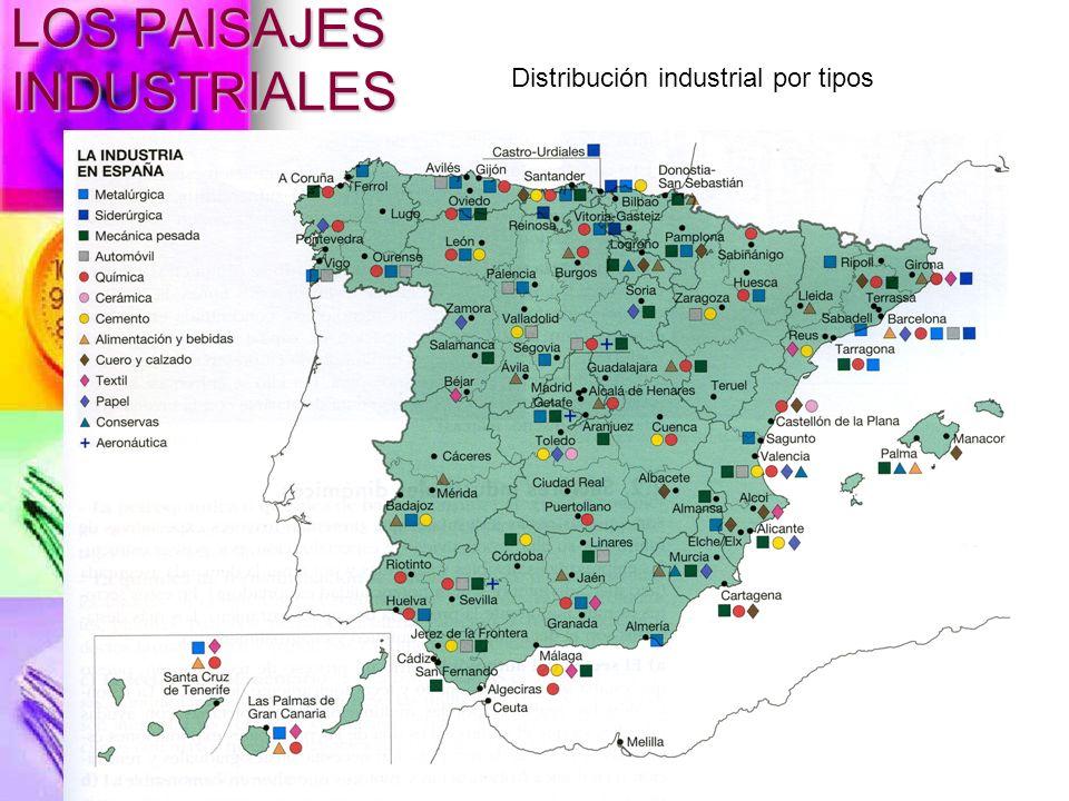 LOS PAISAJES INDUSTRIALES Distribución industrial por tipos