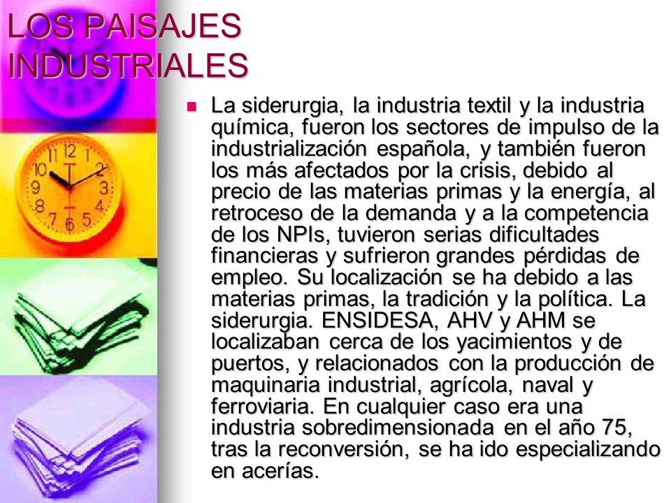 LOS PAISAJES INDUSTRIALES La siderurgia, la industria textil y la industria química, fueron los sectores de impulso de la industrialización española,