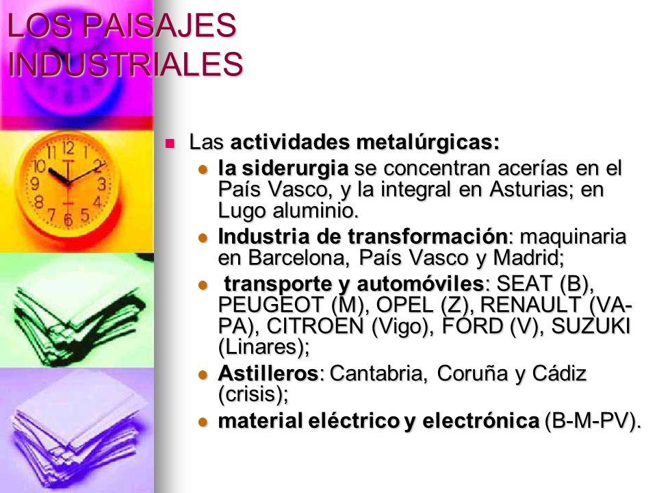 Las actividades metalúrgicas: Las actividades metalúrgicas: la siderurgia se concentran acerías en el País Vasco, y la integral en Asturias; en Lugo a