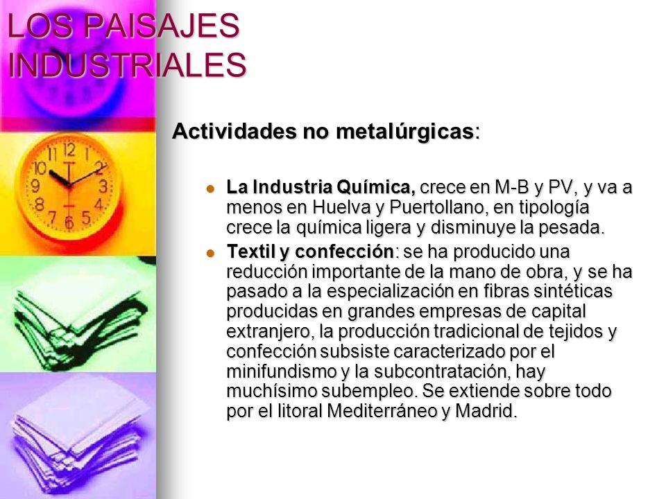 LOS PAISAJES INDUSTRIALES Actividades no metalúrgicas: La Industria Química, crece en M-B y PV, y va a menos en Huelva y Puertollano, en tipología cre