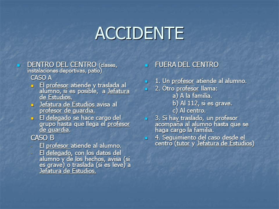 ACCIDENTE DENTRO DEL CENTRO (clases, instalaciones deportivas, patio) DENTRO DEL CENTRO (clases, instalaciones deportivas, patio) CASO A El profesor a