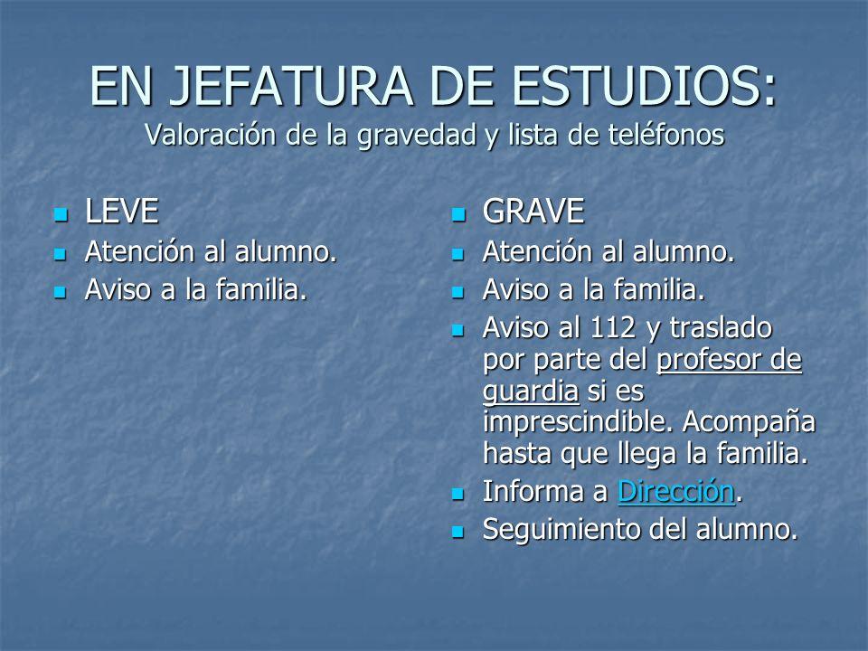 EN JEFATURA DE ESTUDIOS: Valoración de la gravedad y lista de teléfonos LEVE LEVE Atención al alumno. Atención al alumno. Aviso a la familia. Aviso a