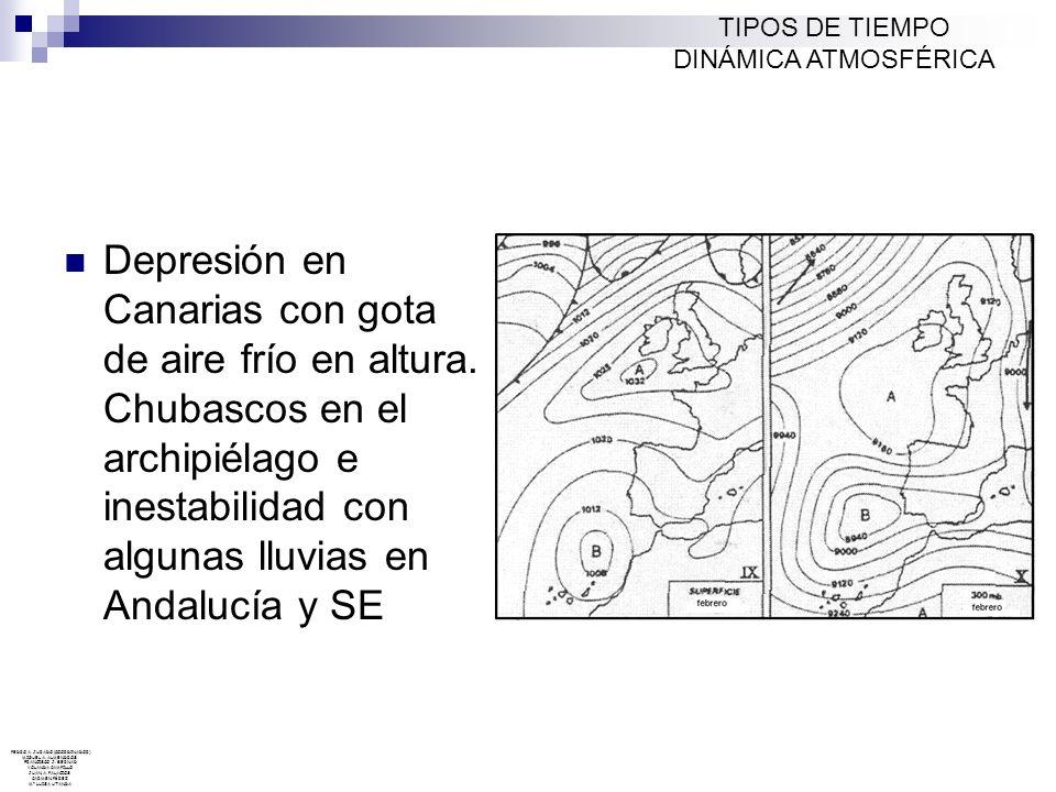 Depresión en Canarias con gota de aire frío en altura. Chubascos en el archipiélago e inestabilidad con algunas lluvias en Andalucía y SE TIPOS DE TIE