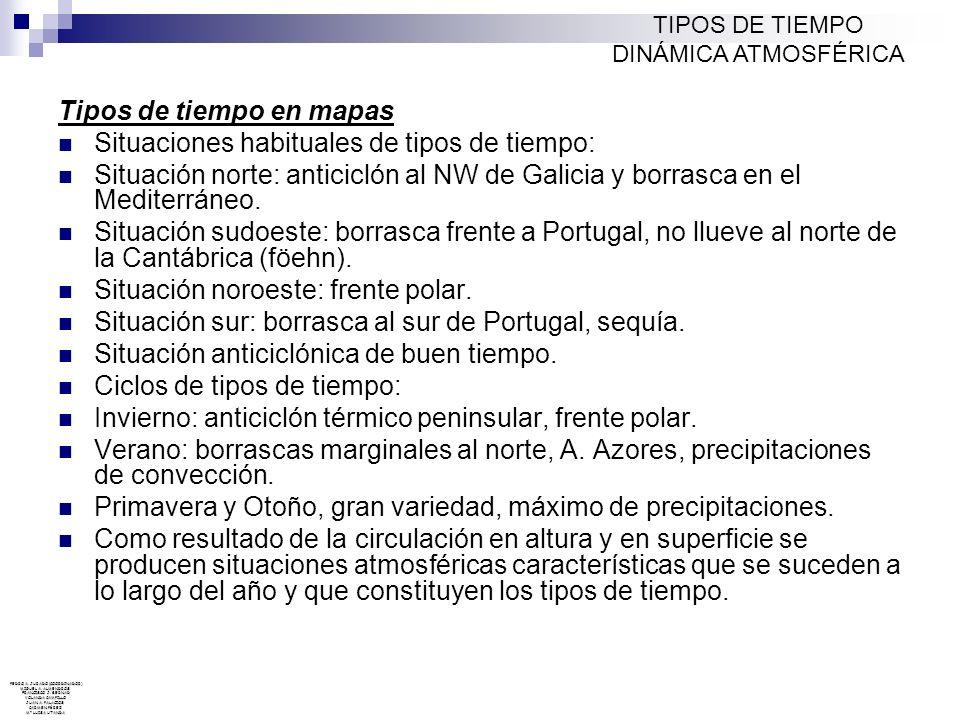 Tipos de tiempo en mapas Situaciones habituales de tipos de tiempo: Situación norte: anticiclón al NW de Galicia y borrasca en el Mediterráneo. Situac
