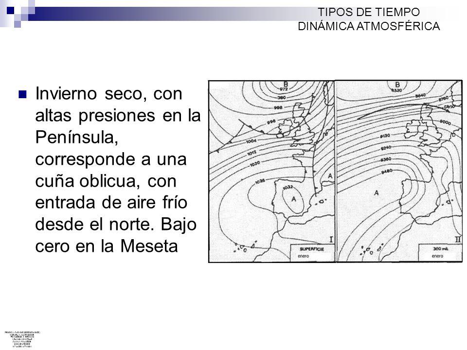TIPOS DE TIEMPO DINÁMICA ATMOSFÉRICA Mapa sinóptico de tiempo, continuación del anterior (12 h.