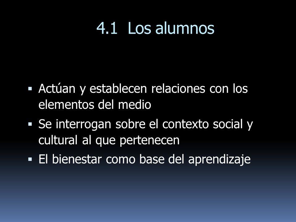 4.1 Los alumnos Actúan y establecen relaciones con los elementos del medio Se interrogan sobre el contexto social y cultural al que pertenecen El bien
