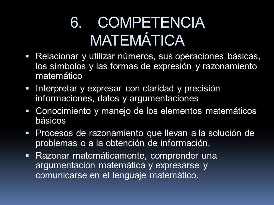 6.COMPETENCIA MATEMÁTICA Relacionar y utilizar números, sus operaciones básicas, los símbolos y las formas de expresión y razonamiento matemático Inte