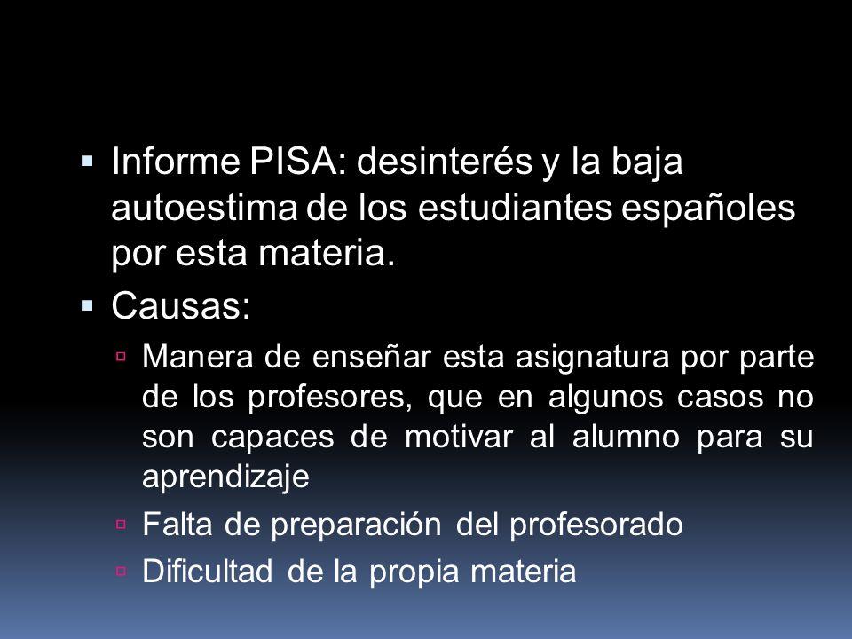 Informe PISA: desinterés y la baja autoestima de los estudiantes españoles por esta materia. Causas: Manera de enseñar esta asignatura por parte de lo