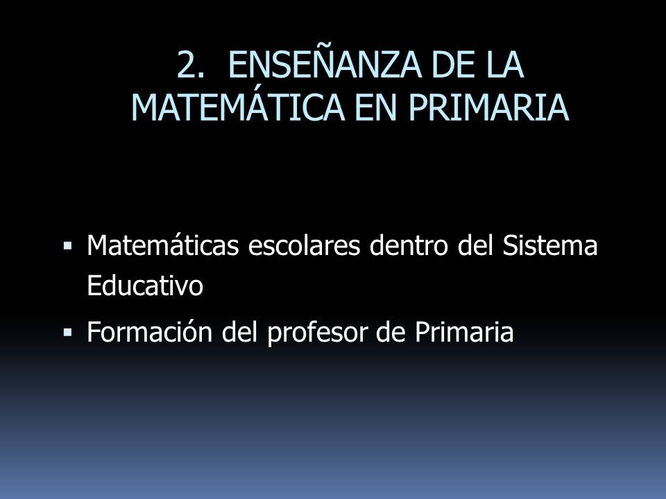2. ENSEÑANZA DE LA MATEMÁTICA EN PRIMARIA Matemáticas escolares dentro del Sistema Educativo Formación del profesor de Primaria