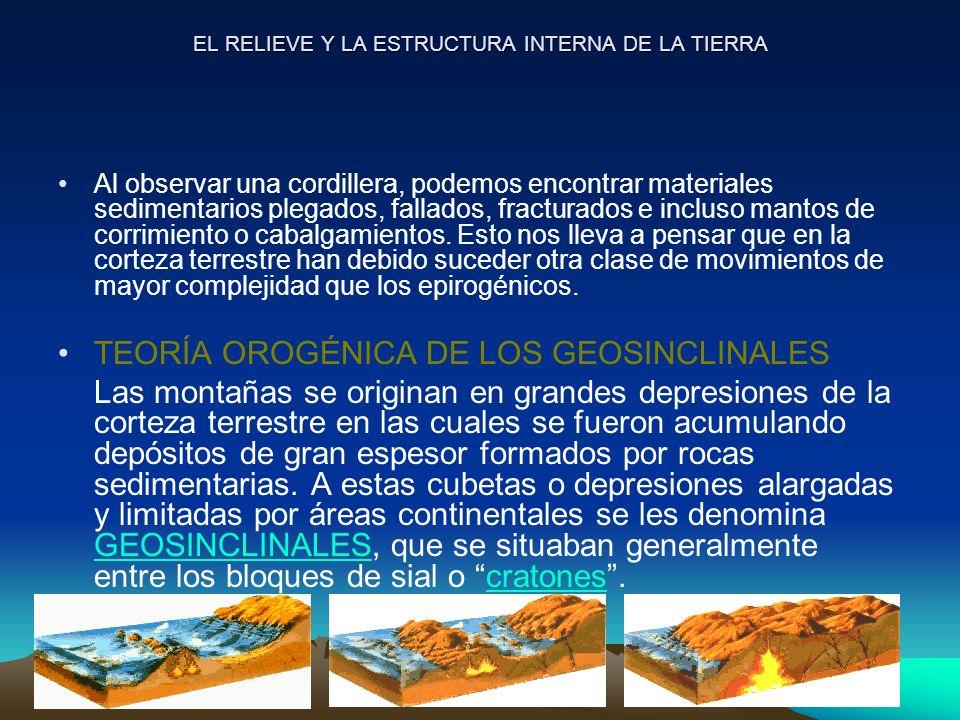 EL RELIEVE Y LA ESTRUCTURA INTERNA DE LA TIERRA Al observar una cordillera, podemos encontrar materiales sedimentarios plegados, fallados, fracturados