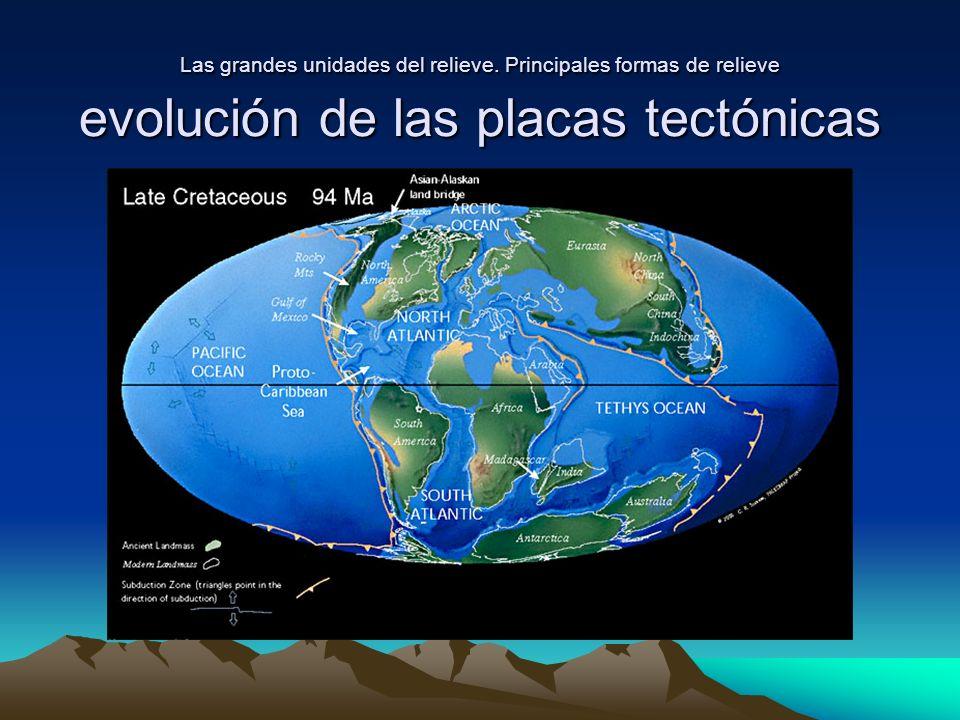 Las grandes unidades del relieve. Principales formas de relieve evolución de las placas tectónicas