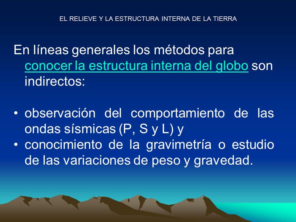 EL RELIEVE Y LA ESTRUCTURA INTERNA DE LA TIERRA En líneas generales los métodos para conocer la estructura interna del globo son indirectos: conocer l