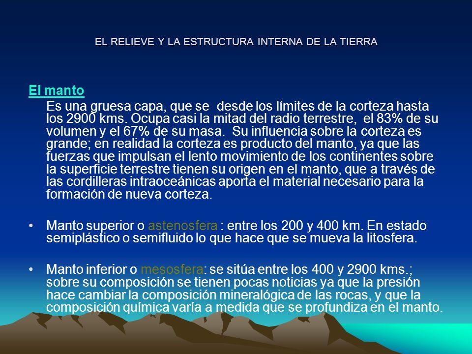 EL RELIEVE Y LA ESTRUCTURA INTERNA DE LA TIERRA El manto Es una gruesa capa, que se desde los límites de la corteza hasta los 2900 kms. Ocupa casi la