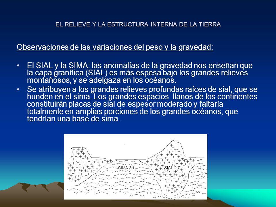 EL RELIEVE Y LA ESTRUCTURA INTERNA DE LA TIERRA Las anomalías de la gravedad indican un déficit de masa en las zonas continentales montañosas, con relación a las cuencas oceánicas: a mayor volumen menor densidad.