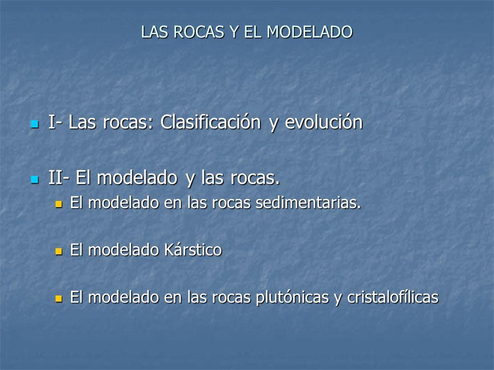 LAS ROCAS Y EL MODELADO I- Las rocas: Clasificación y evolución I- Las rocas: Clasificación y evolución II- El modelado y las rocas. II- El modelado y