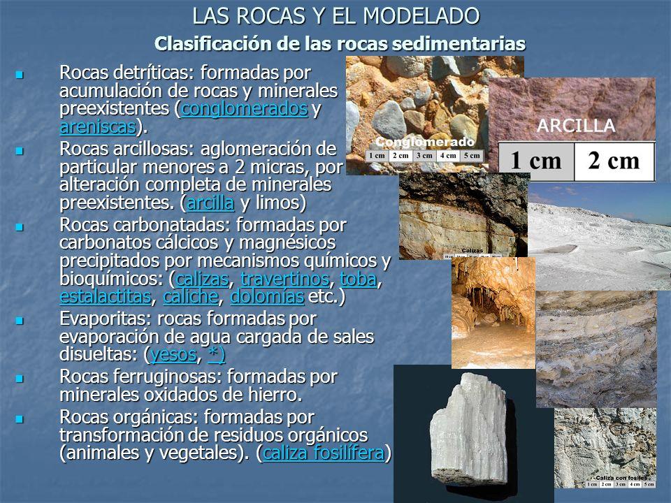 LAS ROCAS Y EL MODELADO Clasificación de las rocas sedimentarias Rocas detríticas: formadas por acumulación de rocas y minerales preexistentes (conglo