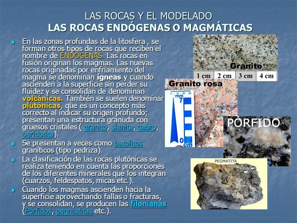 LAS ROCAS Y EL MODELADO LAS ROCAS ENDÓGENAS O MAGMÁTICAS En las zonas profundas de la litosfera, se forman otros tipos de rocas que reciben el nombre