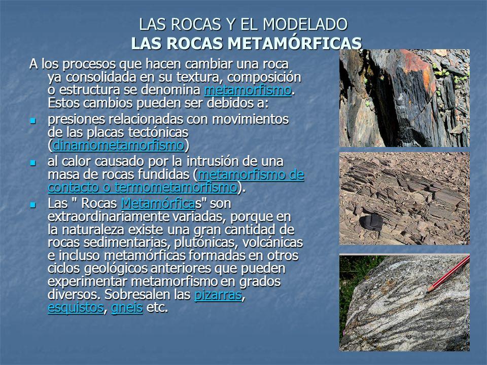 LAS ROCAS Y EL MODELADO LAS ROCAS METAMÓRFICAS A los procesos que hacen cambiar una roca ya consolidada en su textura, composición o estructura se den