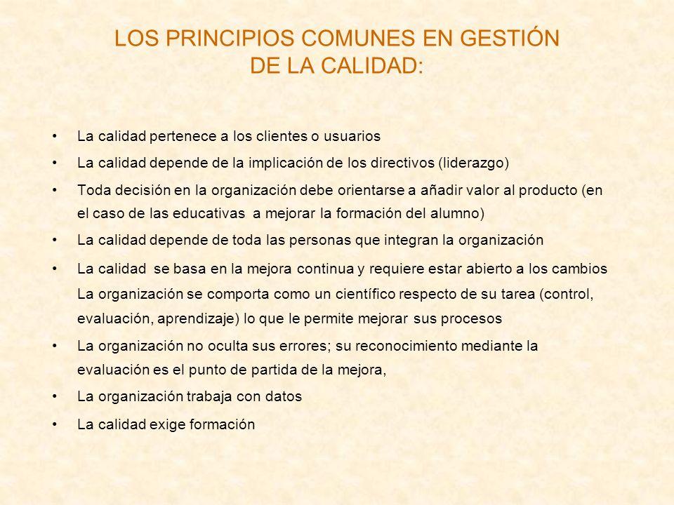 LOS PRINCIPIOS COMUNES EN GESTIÓN DE LA CALIDAD: La calidad pertenece a los clientes o usuarios La calidad depende de la implicación de los directivos