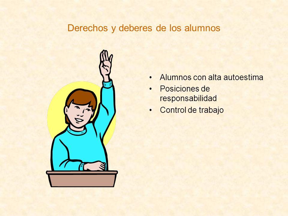 Derechos y deberes de los alumnos Alumnos con alta autoestima Posiciones de responsabilidad Control de trabajo