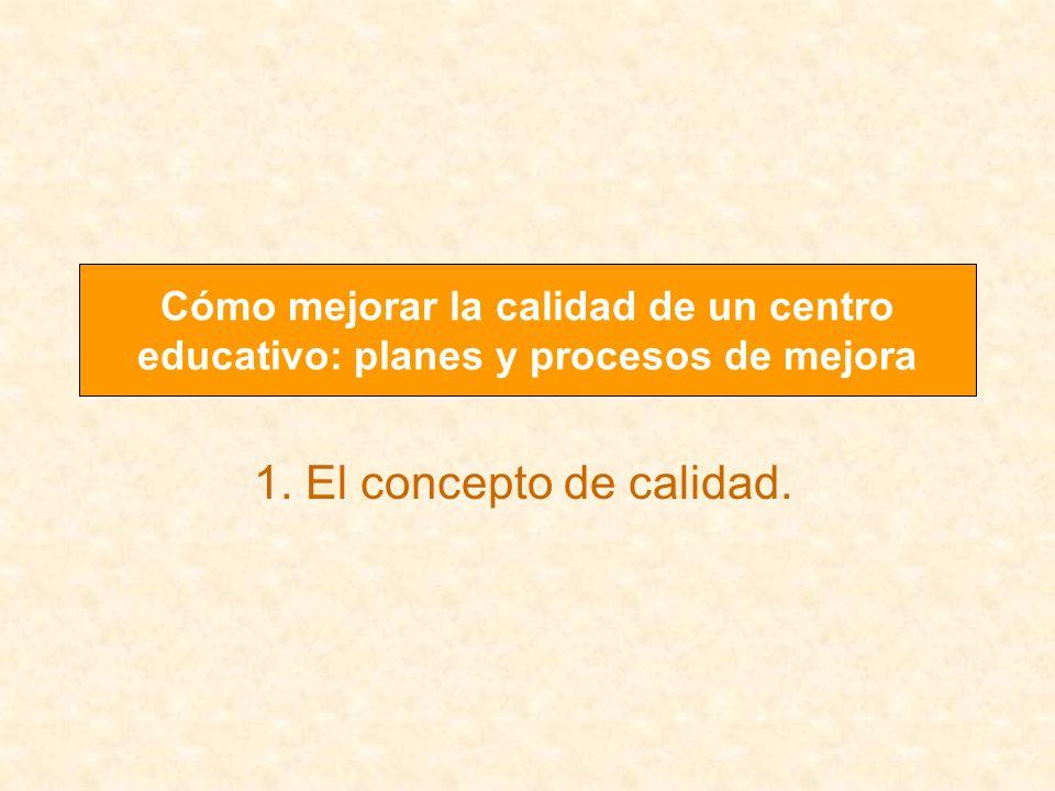 1. El concepto de calidad. Cómo mejorar la calidad de un centro educativo: planes y procesos de mejora