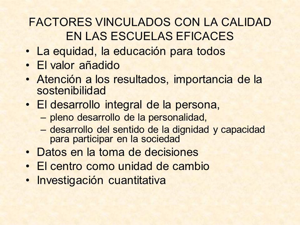 FACTORES VINCULADOS CON LA CALIDAD EN LAS ESCUELAS EFICACES La equidad, la educación para todos El valor añadido Atención a los resultados, importanci