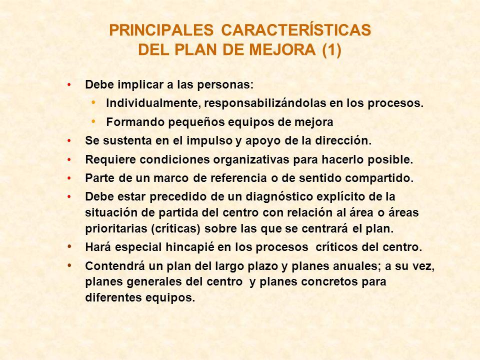 PRINCIPALES CARACTERÍSTICAS DEL PLAN DE MEJORA (1) Debe implicar a las personas: Individualmente, responsabilizándolas en los procesos. Formando peque