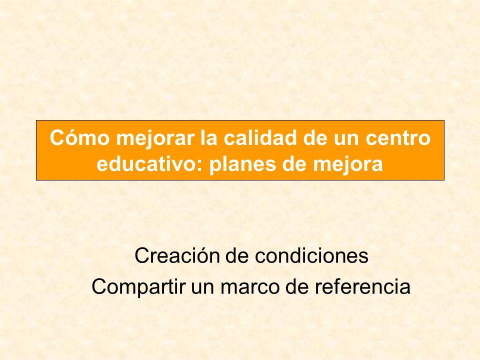 Cómo mejorar la calidad de un centro educativo: planes de mejora Creación de condiciones Compartir un marco de referencia