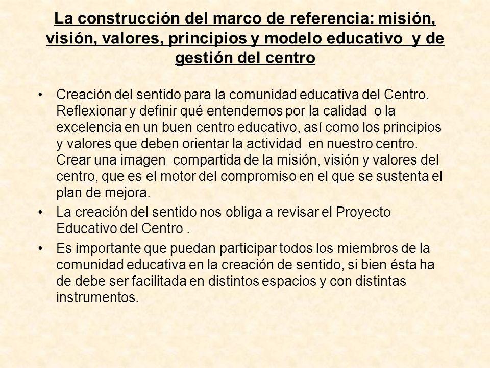 La construcción del marco de referencia: misión, visión, valores, principios y modelo educativo y de gestión del centro Creación del sentido para la c