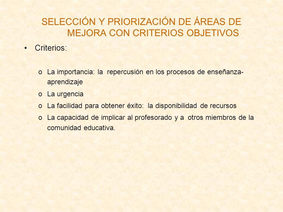 SELECCIÓN Y PRIORIZACIÓN DE ÁREAS DE MEJORA CON CRITERIOS OBJETIVOS Criterios: oLa importancia: la repercusión en los procesos de enseñanza- aprendiza