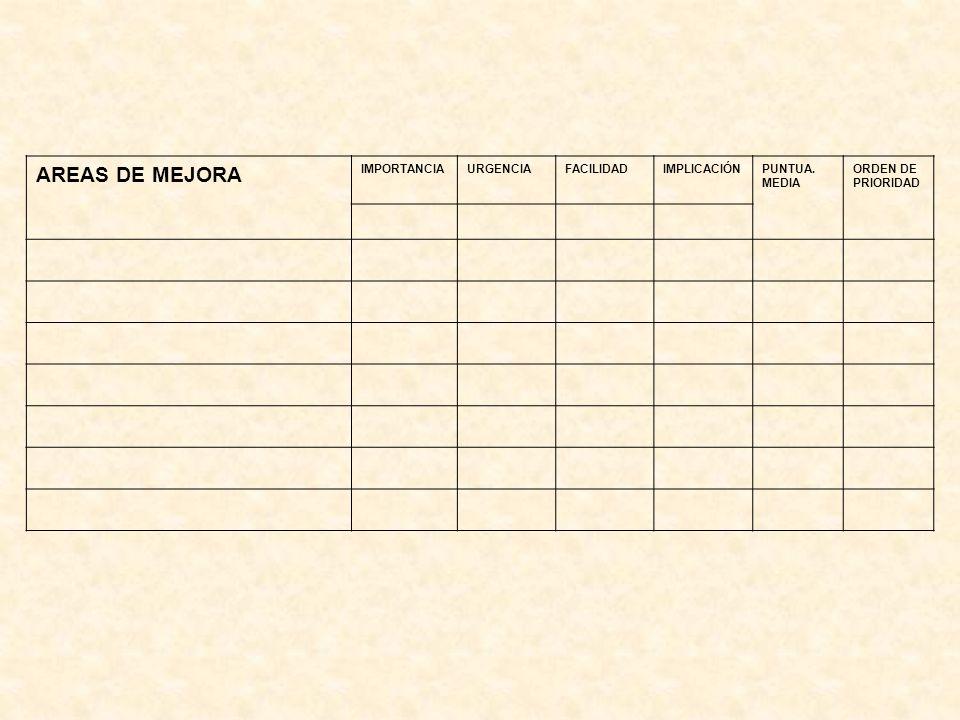 AREAS DE MEJORA IMPORTANCIAURGENCIAFACILIDADIMPLICACIÓNPUNTUA. MEDIA ORDEN DE PRIORIDAD