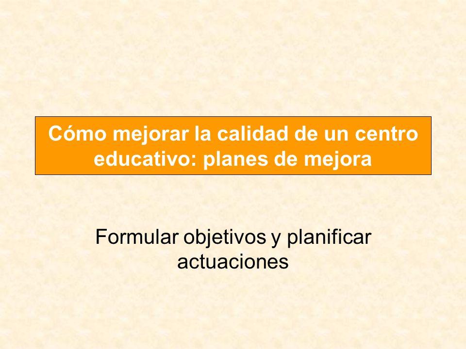 Formular objetivos y planificar actuaciones Cómo mejorar la calidad de un centro educativo: planes de mejora