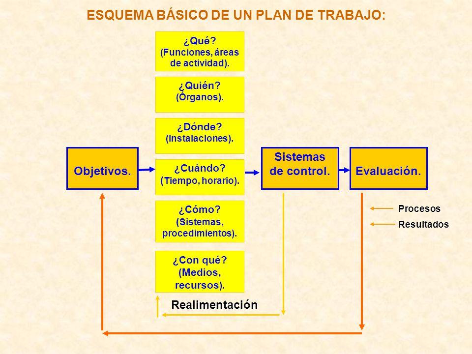 ESQUEMA BÁSICO DE UN PLAN DE TRABAJO:Procesos Resultados Objetivos. ¿Quién? (Órganos). ¿Qué? (Funciones, áreas de actividad). ¿Dónde? (Instalaciones).
