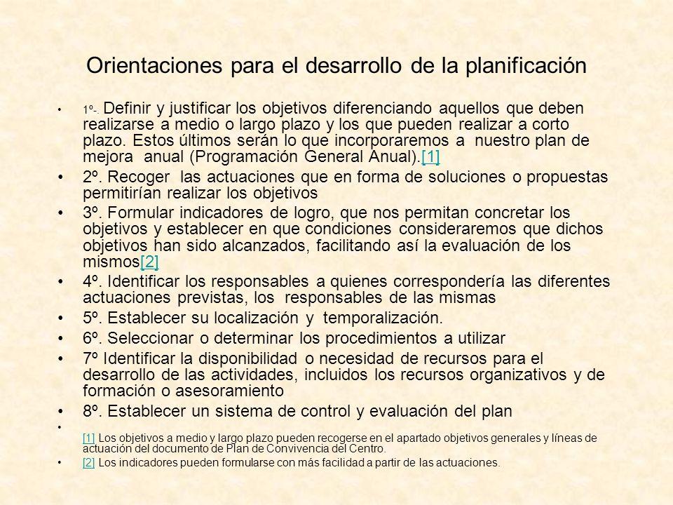 Orientaciones para el desarrollo de la planificación 1º-. Definir y justificar los objetivos diferenciando aquellos que deben realizarse a medio o lar
