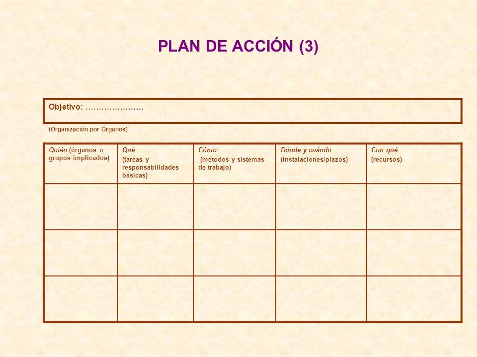 PLAN DE ACCIÓN (3) Objetivo: …………………. (Organización por Órganos) Quién (órganos o grupos implicados) Qué (tareas y responsabilidades básicas) Cómo (mé