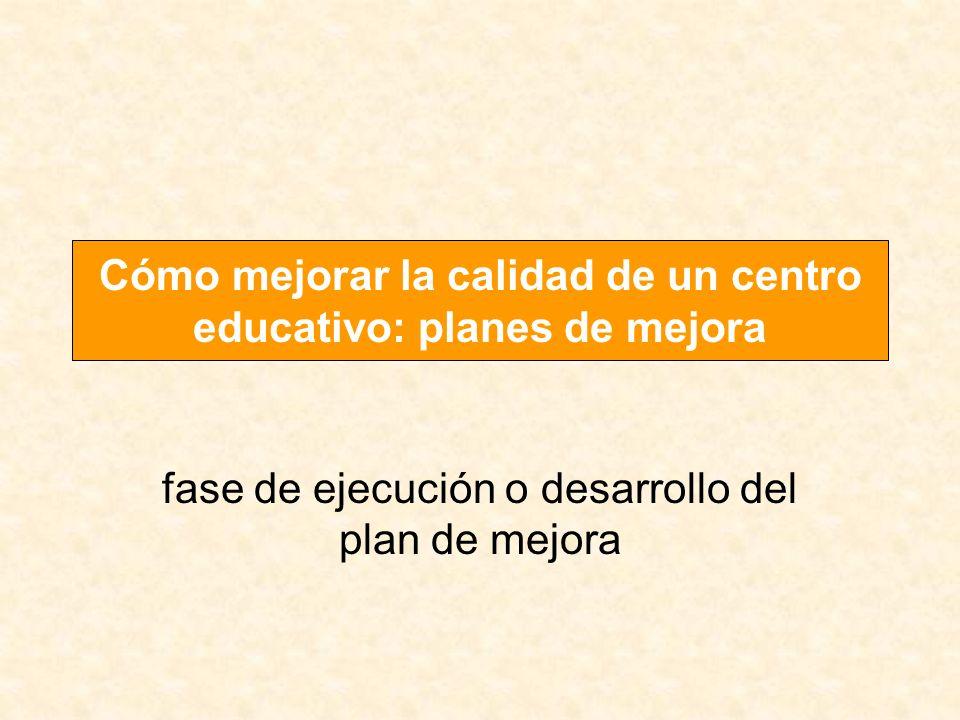 fase de ejecución o desarrollo del plan de mejora Cómo mejorar la calidad de un centro educativo: planes de mejora