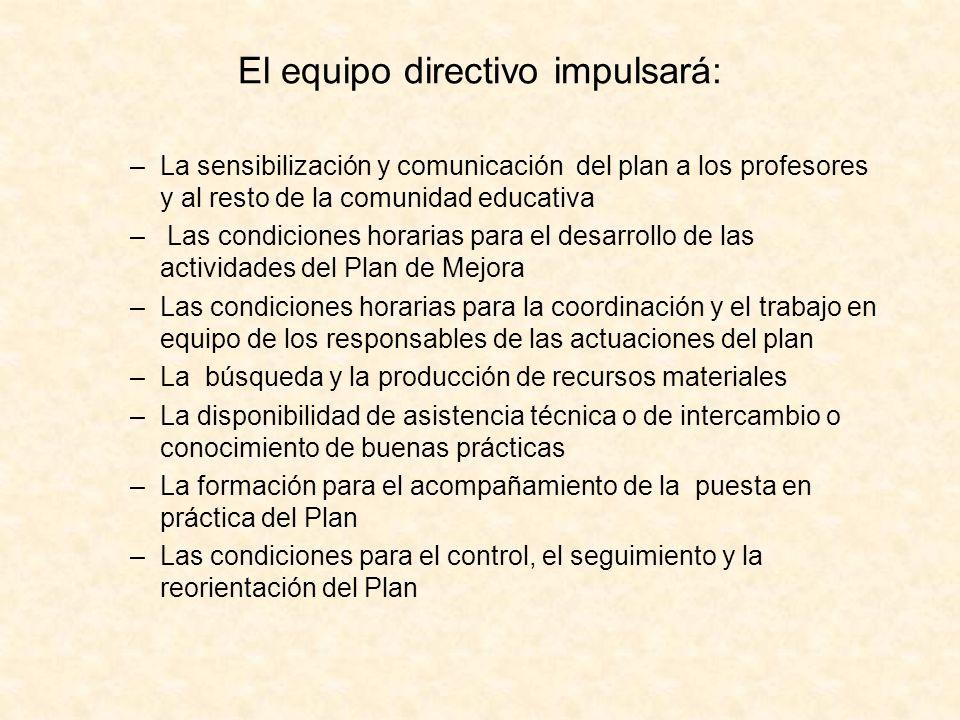 El equipo directivo impulsará: –La sensibilización y comunicación del plan a los profesores y al resto de la comunidad educativa – Las condiciones hor