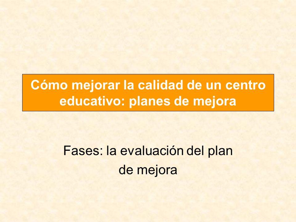 Fases: la evaluación del plan de mejora Cómo mejorar la calidad de un centro educativo: planes de mejora