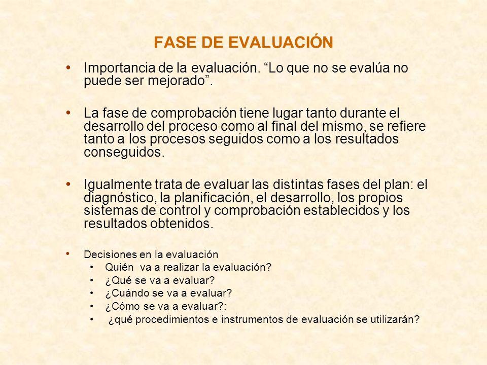 FASE DE EVALUACIÓN Importancia de la evaluación. Lo que no se evalúa no puede ser mejorado. La fase de comprobación tiene lugar tanto durante el desar