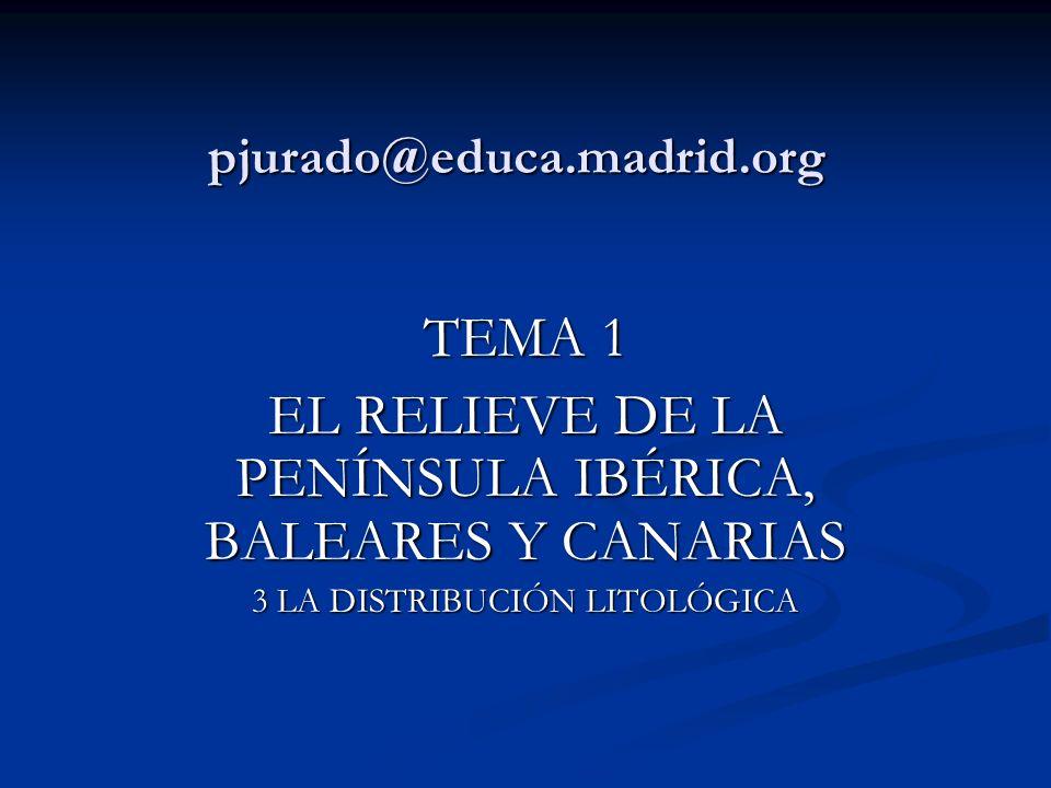 TEMA 1 EL RELIEVE DE LA PENÍNSULA IBÉRICA, BALEARES Y CANARIAS LOS MATERIALES GEOLÓGICOS DE LA PENÍNSULA IBÉRICA LOS MATERIALES GEOLÓGICOS DE LA PENÍNSULA IBÉRICA Como consecuencia de la evolución geológica en la Península Ibérica y Baleares, la suya propia en Canarias, se pueden distinguir tres dominios litológicos.