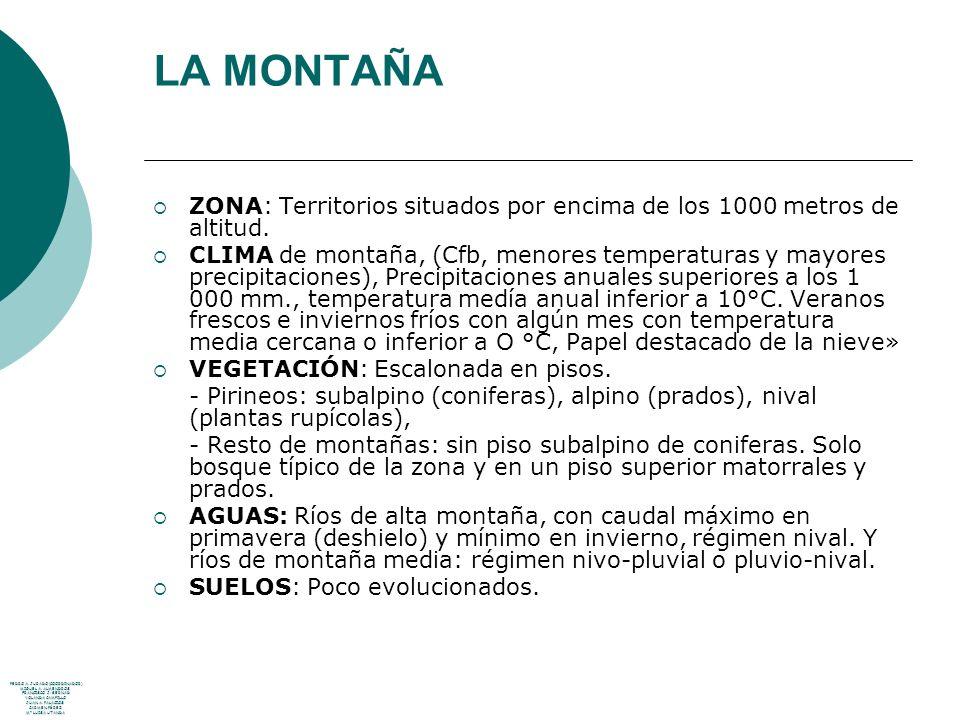 LA MONTAÑA ZONA: Territorios situados por encima de los 1000 metros de altitud. CLIMA de montaña, (Cfb, menores temperaturas y mayores precipitaciones